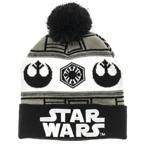 Star Wars 7 VII Embossed Logo vs Fairisle Cuff Knit Beanie Hat
