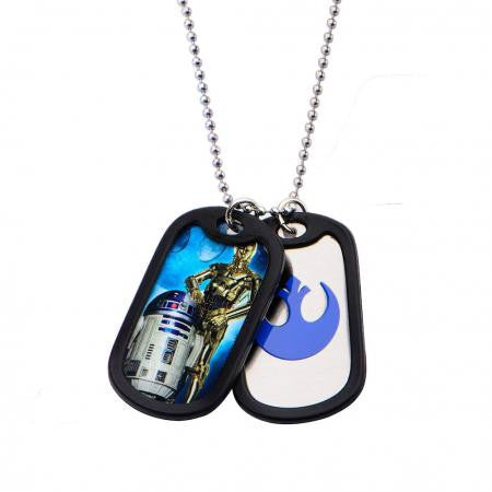 Star Wars R2D2 and C3PO Double Dog Tag Stainless Steel Chain Necklace Licensed