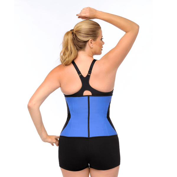 Diva's Celebrity Waist Trainer - Waist Cincher, Blue with Black Curve.