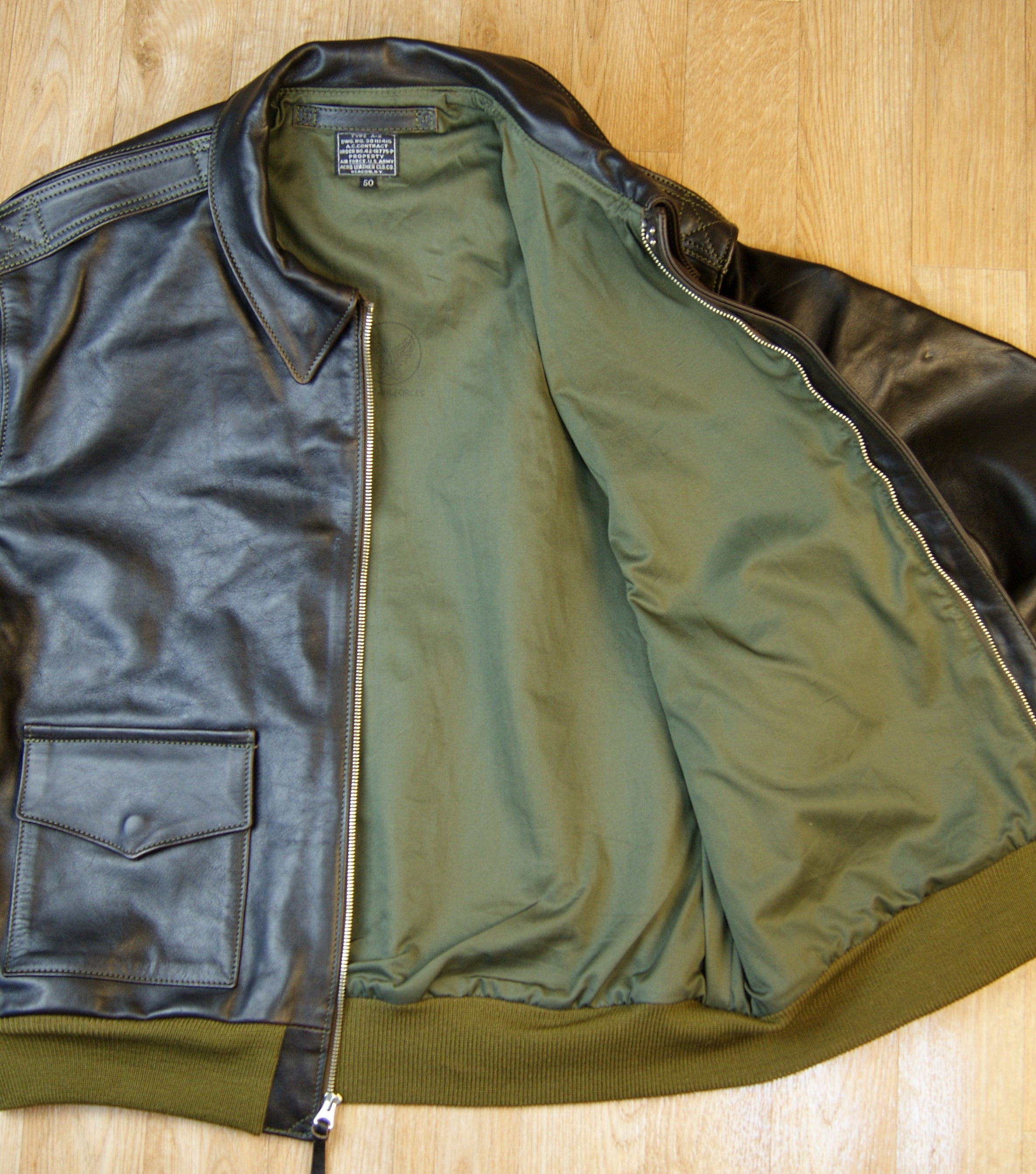 Aero A-2 Military Flight Jacket, size 50, Blackened Brown Vicenza Horsehide