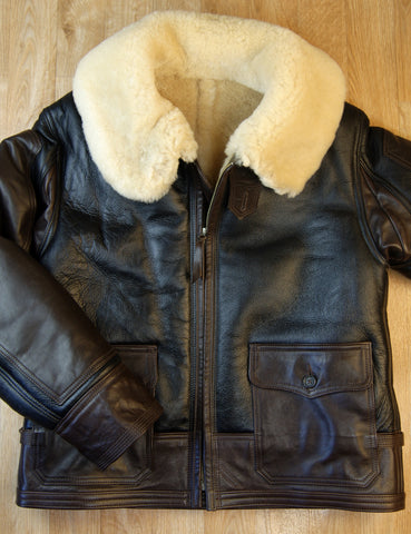 Aero AN-J-4 Military Flight Jacket, size 44, Seal Brown with Dark Seal Vicenza Horsehide trim