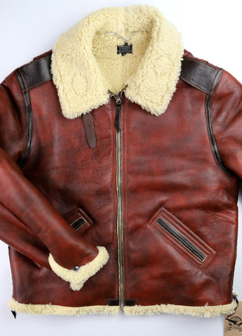 Aero Two-Tone B-6 Military Flight Jacket, size 48, Redskin with Dark Seal Vicenza Horsehide Trim