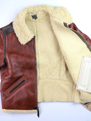 Aero Two-Tone B-6 Military Flight Jacket, size 46, Redskin with Dark Seal Vicenza Horsehide Trim