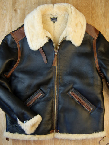 Aero Two-Tone B-6 Military Flight Jacket, size 48, Seal Brown with Russet Vicenza Horsehide Trim