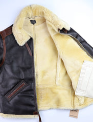 Aero Two-Tone B-6 Military Flight Jacket, size 44, Seal Brown with Russet Vicenza Horsehide Trim
