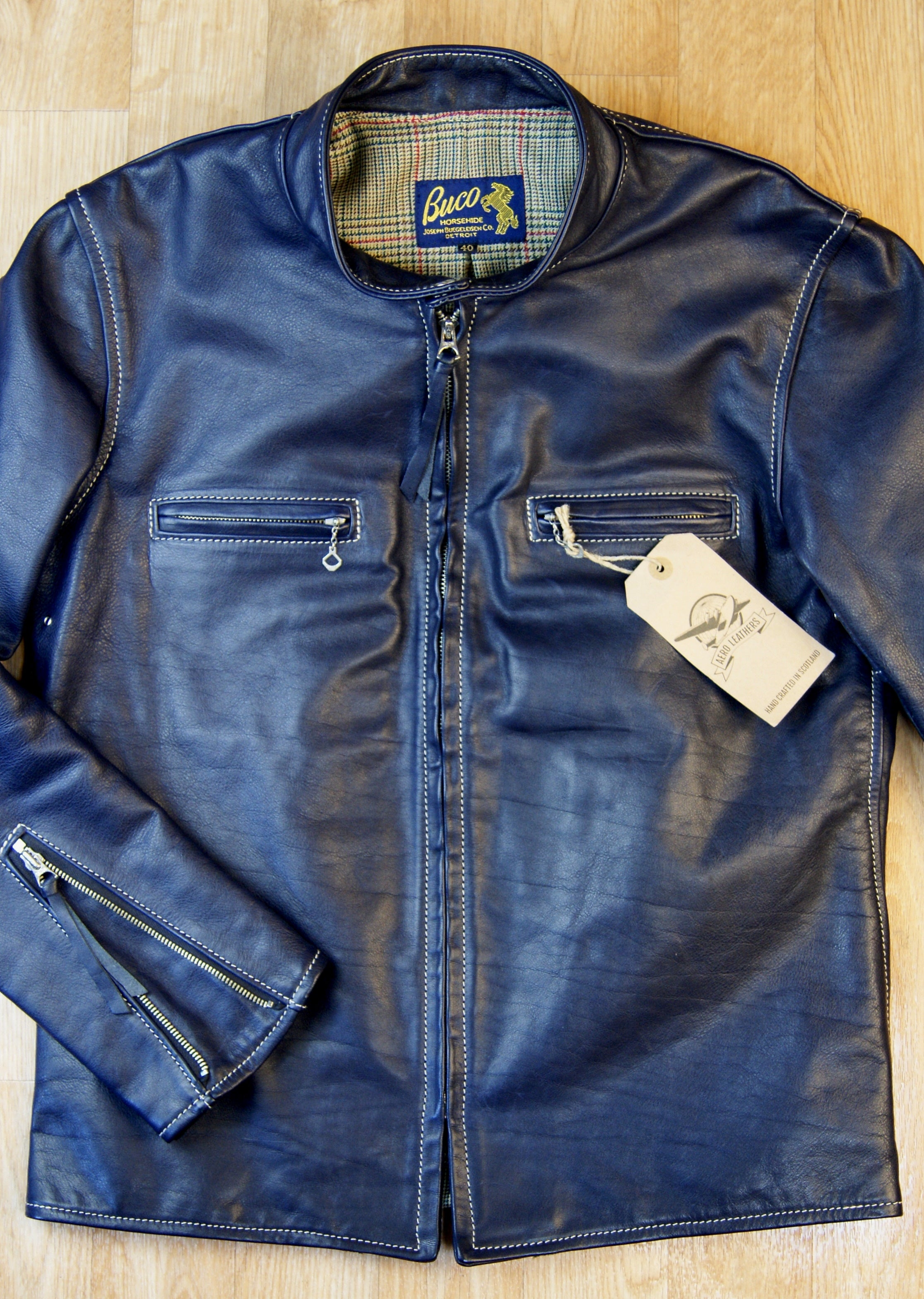 Aero Board Racer, size 40, Blue Vicenza Horsehide