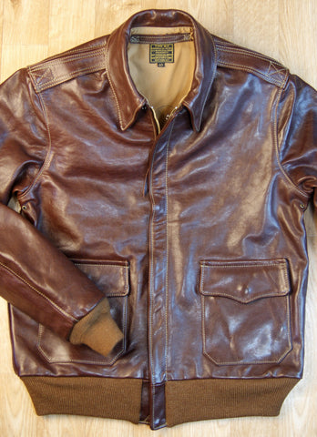 Aero Bronco A-2 Military Flight Jacket, size 40, Tobacco Badalassi Cowhide