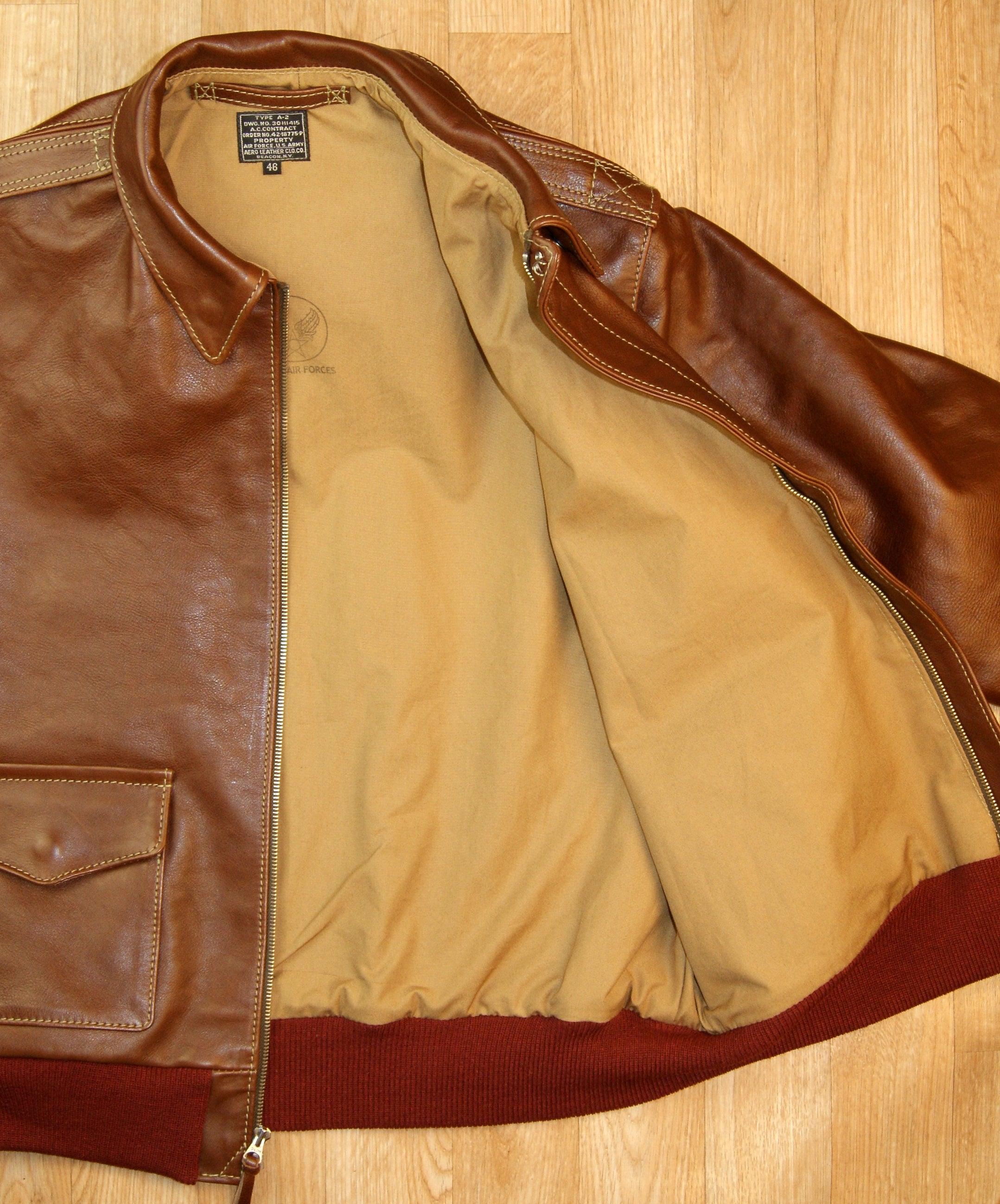 Aero A-2 Military Flight Jacket, size 46, Russet Vicenza Horsehide