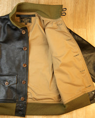 Aero A-1 Military Flight Jacket, size 40, Blackened Brown Vicenza Horsehide