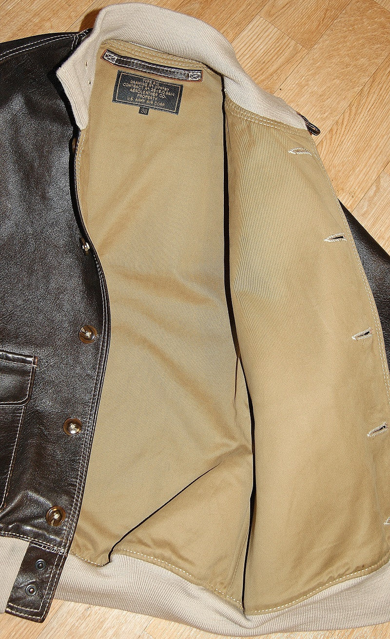 "Used Aero A-1 Military Flight Jacket, size 38,  Seal ""Jerky"" FQHH Horsehide"