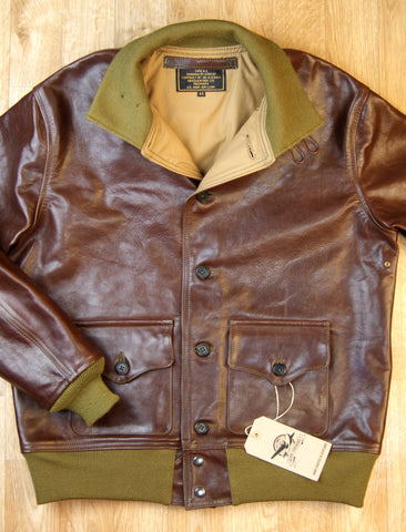 Aero A-1 Military Flight Jacket, size 44, Tobacco Badalassi Cowhide