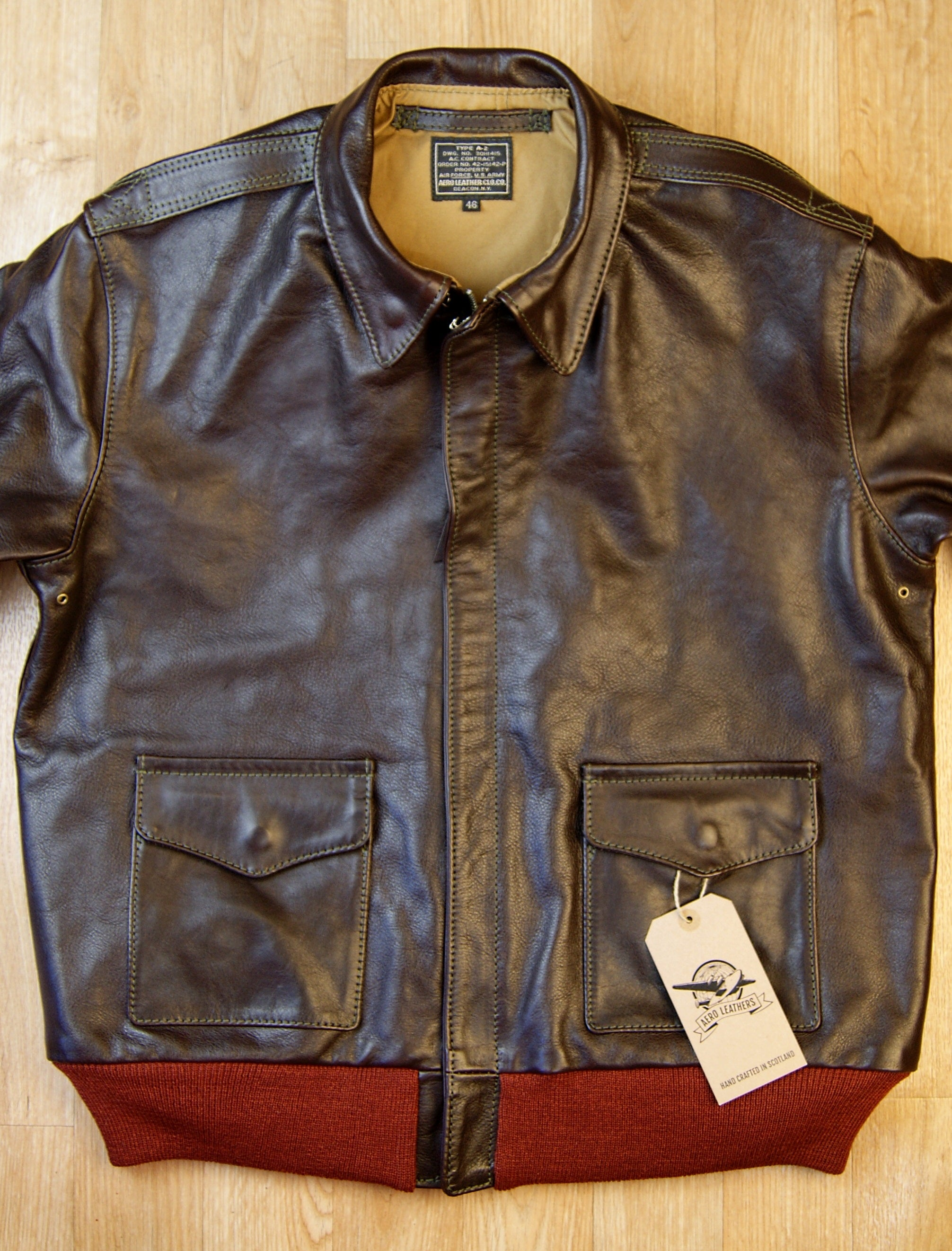 Aero A-2 Military Flight Jacket, size 46, Dark Seal Vicenza Horsehide