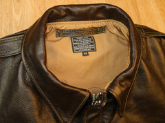 Aero A-2 Military Flight Jacket, size 48, Dark Seal Vicenza Horsehide