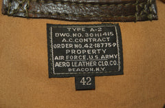 Aero A-2 Military Flight Jacket, size 42, Dark Seal Vicenza Horsehide
