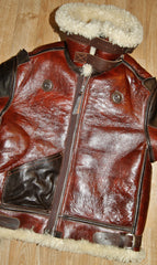 Aero B-3 Military Flight Jacket, size 40, Redskin with Dark Seal Vicenza Horsehide trim