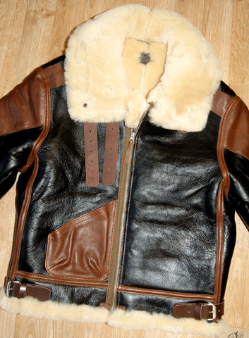 Aero B-3 Military Flight Jacket, size 42, Seal Brown with Russet Vicenza Horsehide trim