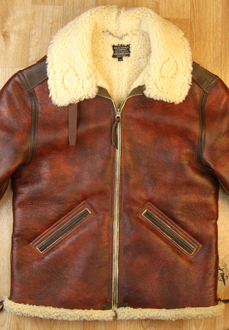 Aero B-6 Military Flight Jacket, size 40, Redskin with Dark Seal Vicenza Horsehide Trim