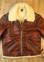 Aero Two-Tone B-6 Military Flight Jacket, size 44, Redskin with Dark Seal Vicenza Horsehide Trim