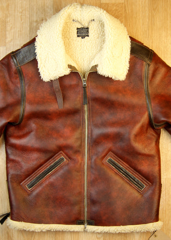 Aero B-6 Military Flight Jacket, size 42, Redskin with Dark Seal Vicenza Horsehide Trim