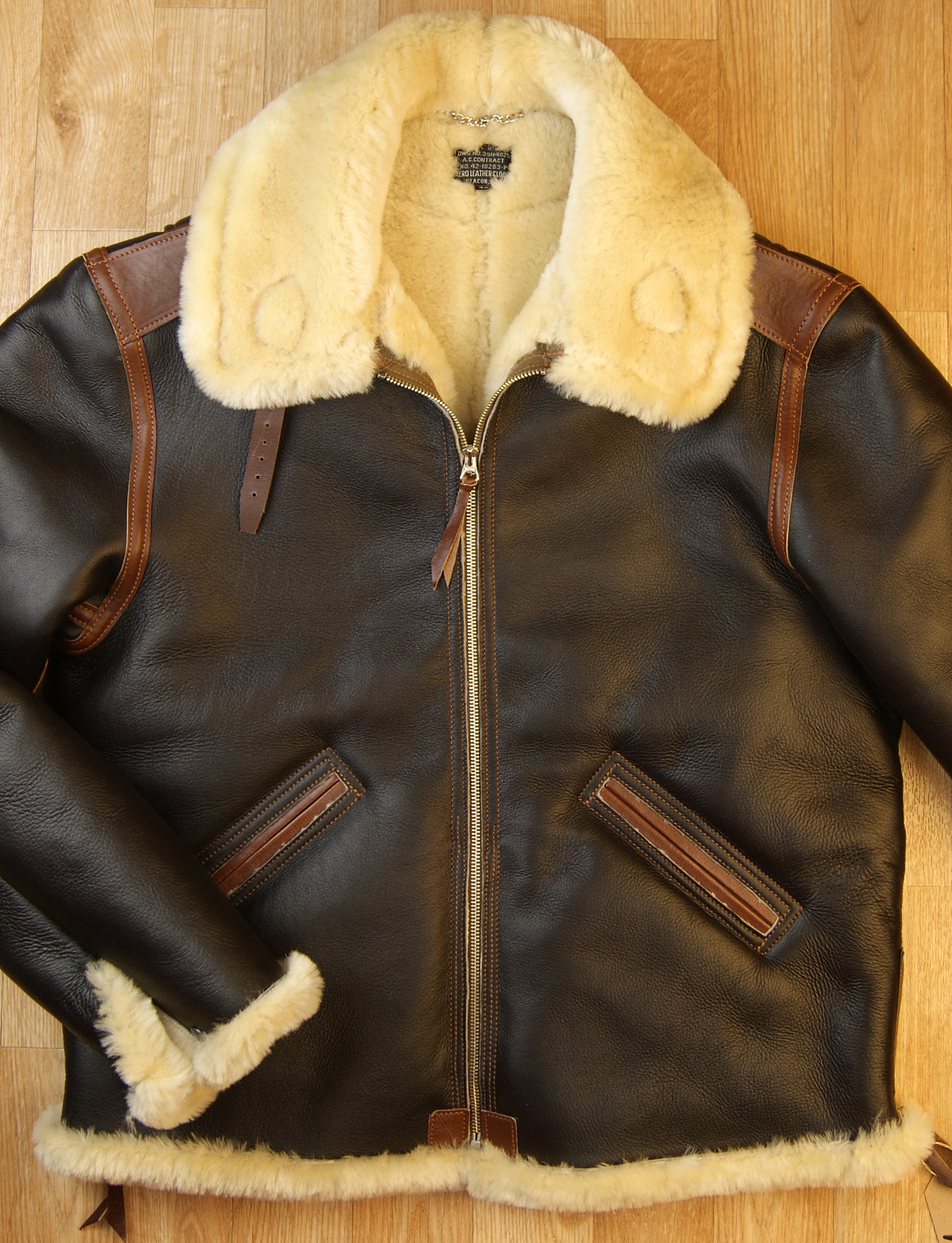 Aero Two-Tone B-6 Military Flight Jacket, size 46, Seal Brown with Russet Vicenza Horsehide Trim