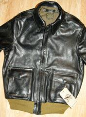 Aero A-2 Military Flight Jacket, size 38, Black Vicenza Horsehide