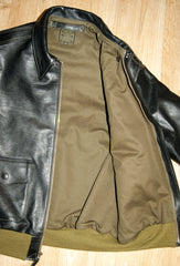Aero A-2 Military Flight Jacket, size 42, Black Vicenza Horsehide