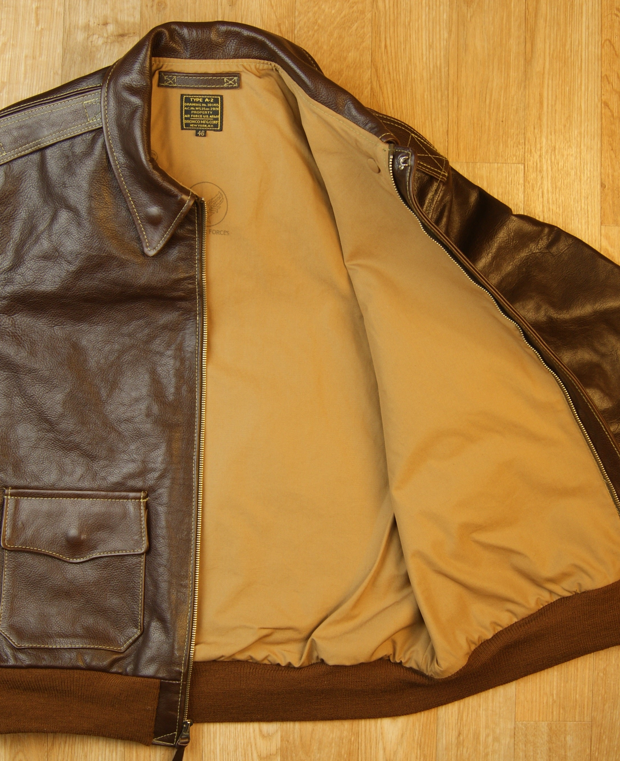 Aero A-2 Military Flight Jacket, size 46, Seal Vicenza Horsehide