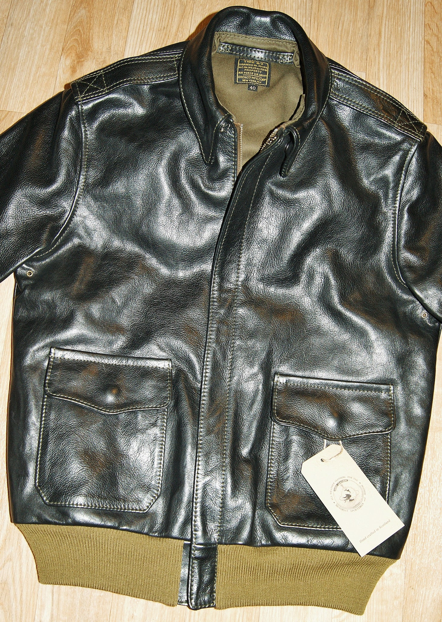 Aero A-2 Military Flight Jacket, size 40, Black Vicenza Horsehide