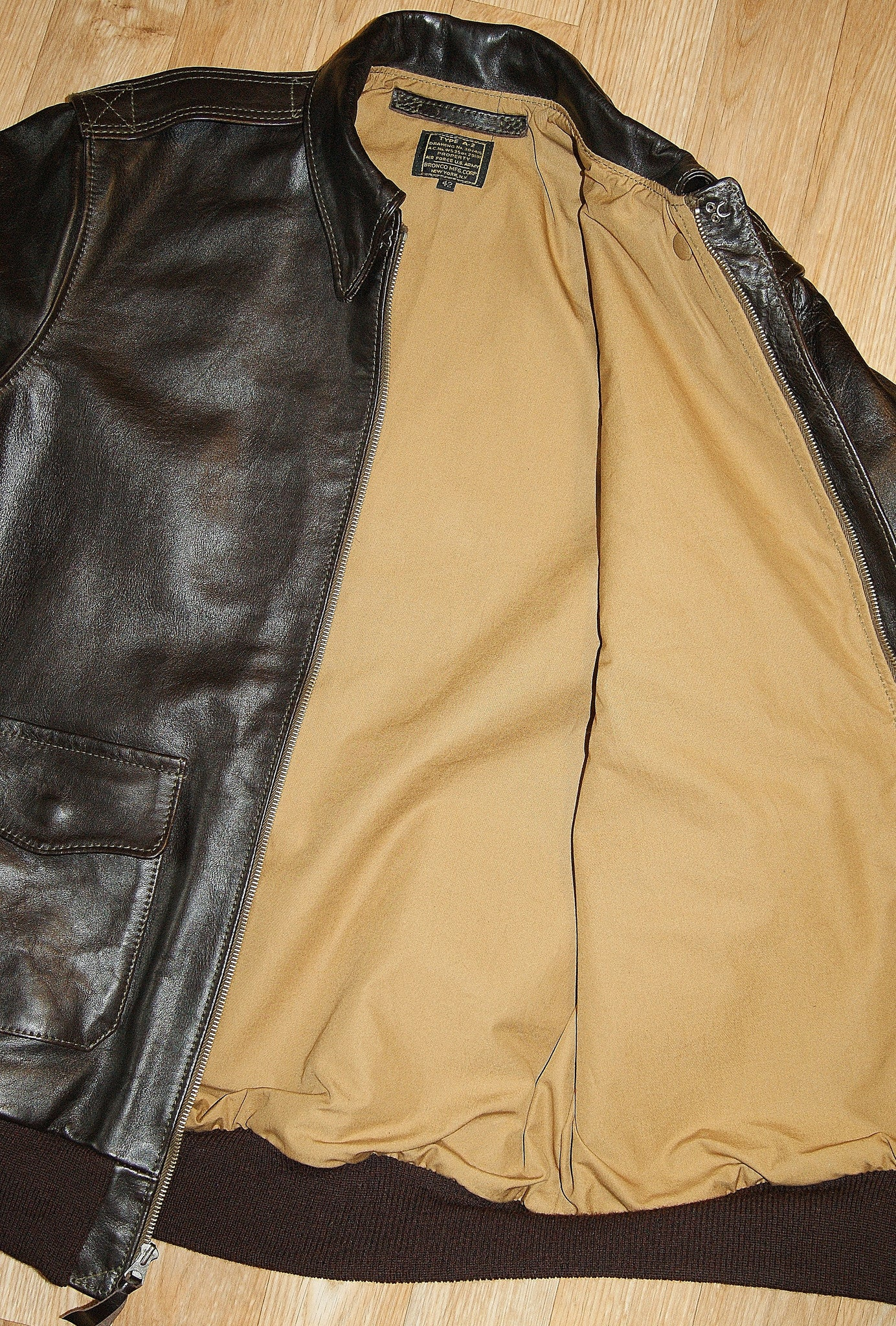Aero A-2 Military Flight Jacket, size 42L, Dark Seal Vicenza Horsehide