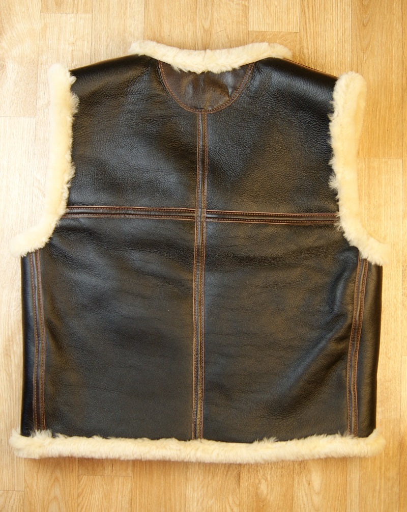 Aero C-3 Winter Flight Vest, size Large, Seal Brown with Seal trim