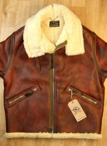 Aero D-1 Military Flight Jacket, size 44, Redskin with Dark Seal Vicenza Horsehide Trim