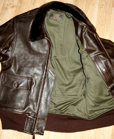Aero M422a Military Flight Jacket, size 42 (fits like 40), Dark Seal Vicenza Horsehide