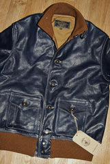 Aero A-1 Military Flight Jacket, size 40, Navy Blue Vicenza Horsehide