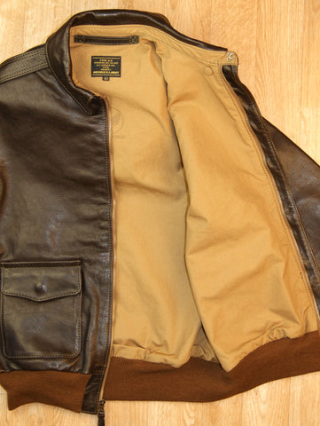 Aero A-2 Military Flight Jacket, size 40, Dark Seal Vicenza Horsehide