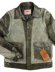 Thedi Niko Button-Up Jacket, size Medium, Green Goat Suede and Cowhide