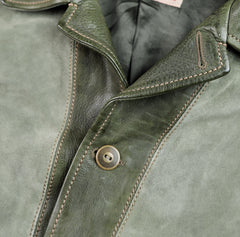Thedi Niko Button-Up Jacket, size XXL, Green Goat Suede and Cowhide