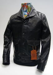 Thedi x Thurston Black Cowhide Button-Up Shawl Collar Utility Jacket