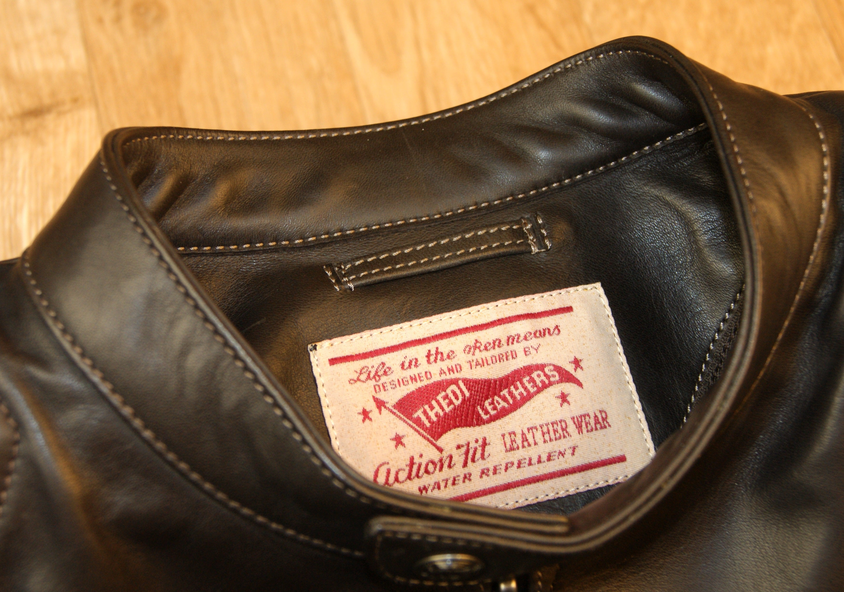 Thedi Phenix Cafe Racer Jacket, size Large, Brown Horsehide