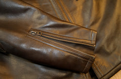 Thedi Phenix Cafe Racer Jacket, size Small, Brown Horsehide