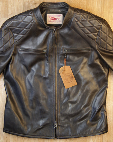 Thedi Phenix Cafe Racer Jacket, size XL, Brown Horsehide