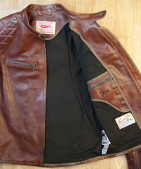 Thedi Phenix Cafe Racer Jacket, size Medium, Caffe Buffalo