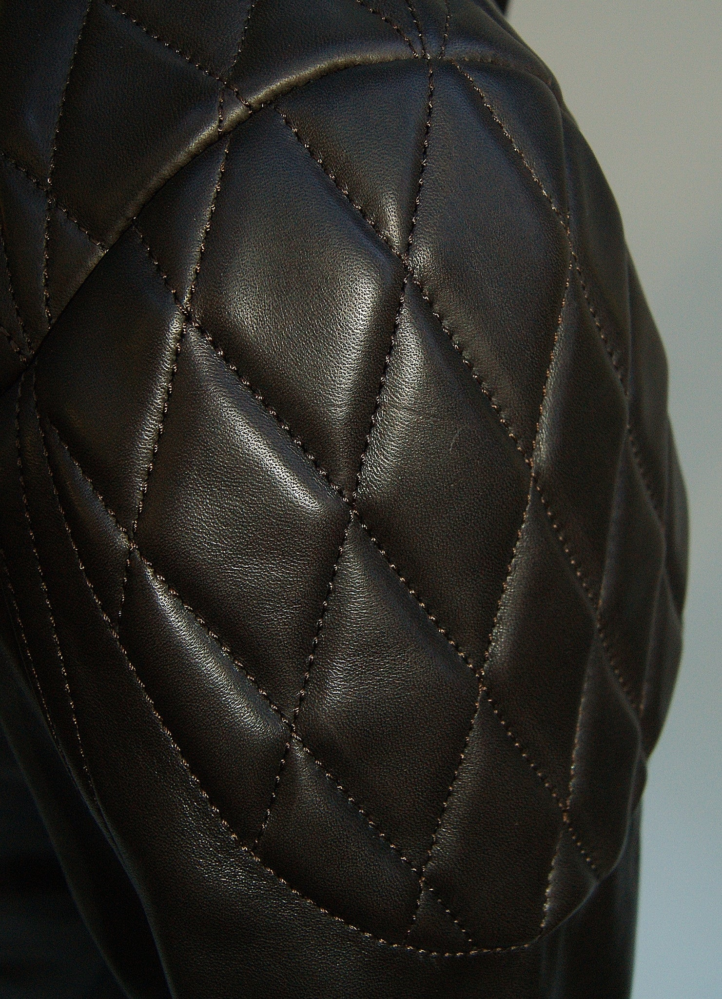 Thedi x Thurston Dark Brown Horsehide Phenix Quilted Cafe' Racer
