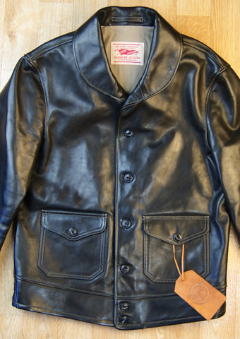 Thedi Button-Up Shawl Collar Jacket, size Large, Black Cowhide