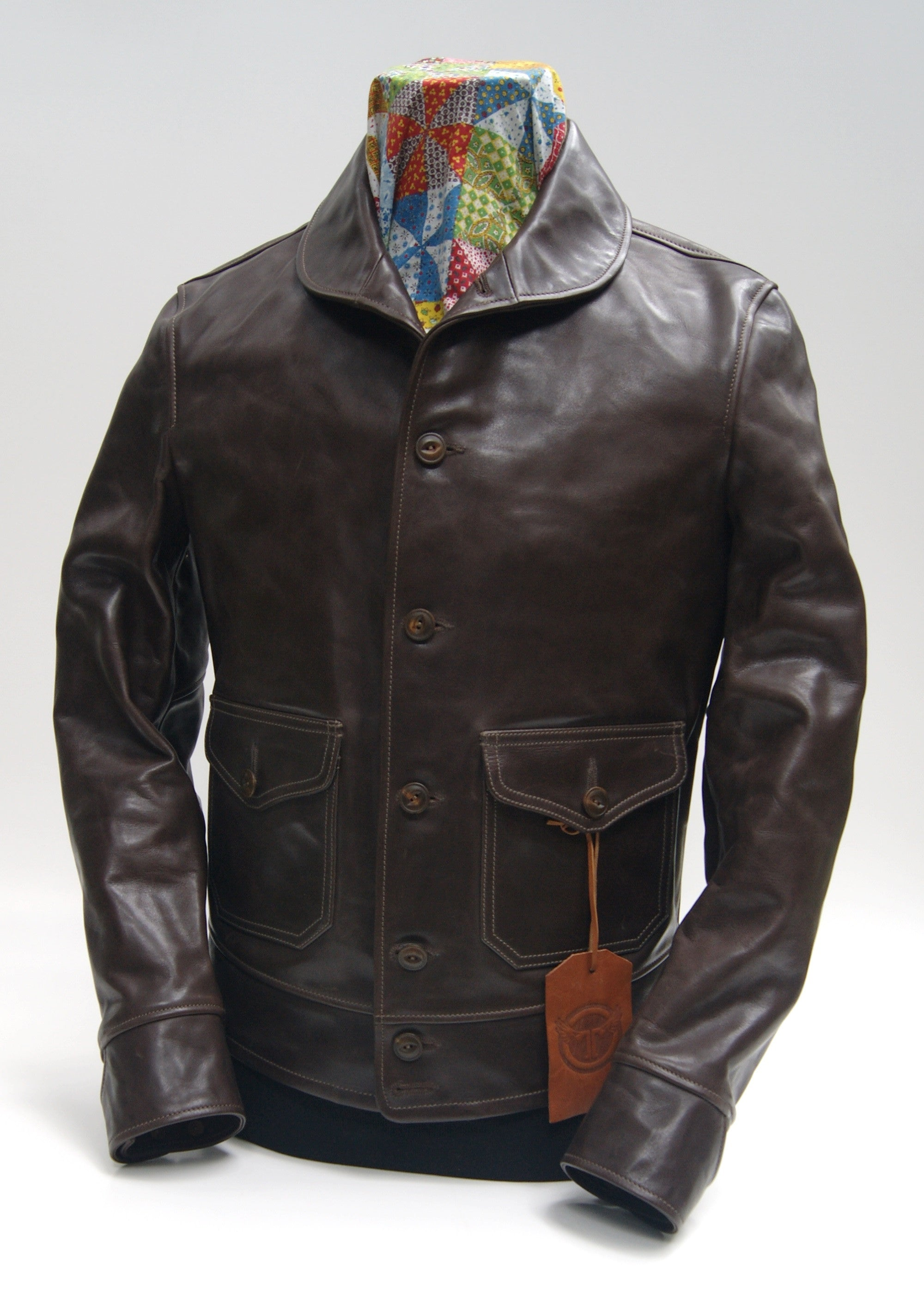 Thedi x Thurston Brown Cowhide Button-Up Shawl Collar Utility Jacket