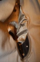 Thedi Button-Up Shawl Collar Jacket, size 2XL, Brown Cowhide