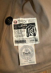 Thedi Button-Up Shawl Collar Jacket, size XL, Brown Cowhide