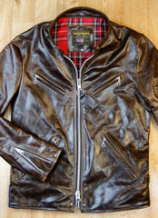 Vanson Agent X Slim Fit Cafe Racer, Chestnut Vancouver, size Medium