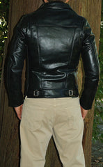 Photo of man modelling Vanson Daredevil., black leather motorcycle jacket. Back of jacket.