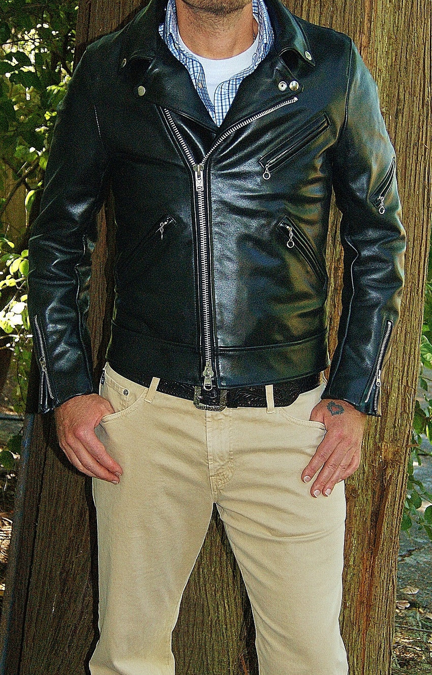 Photo of man modelling Vanson Daredevil., black leather motorcycle jacket.