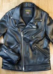 Black leather motorcycle jacket with asymmetrical front opening and collar with lapels.  Three-pocket front and zippered sleeves.